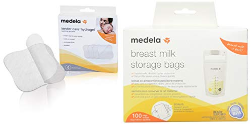 Medela Soothing Gel Pads for Breastfeeding, 4 count, Tender Care Hydrogel Pads, Advanced Nipple Therapy, Instant Cooling Relief for Tender Nipples, Reusable Bundled with Medela Breast Milk Storage Bag - Medela Hydrogel