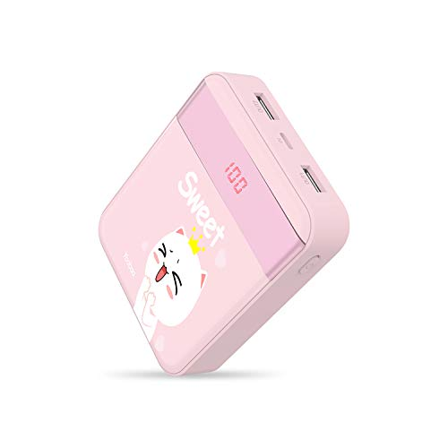 Power Bank Yoobao 10000mAh Small Portable Charger Powerbank External Cell Phone Battery Backup Pack (LED Display, Dual Output, Dual Input) Compatible Cellphone Smartphone Tablet - Pink Sweet