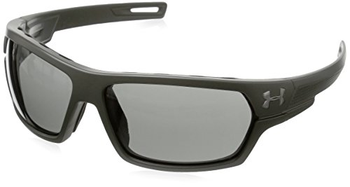 (Under Armour Rectangular, UA BATTLEWRAP (ANSI) SATIN ROUGH GREEN/BLACK FRAME/GRAY LENS L/XL)
