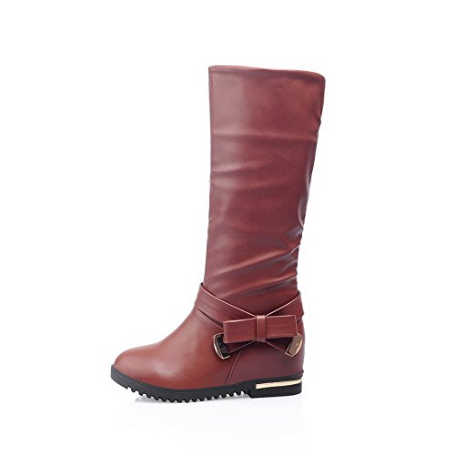 on Heels Toe Soft High Round Women's Pull Kitten Boots top AmoonyFashion Material Brown Closed IU1Znq