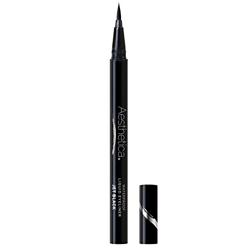 (Aesthetica Felt Tip Liquid Eyeliner Pen - Fast-drying Waterproof & Smudge Proof Eye Liner (Jet Black))