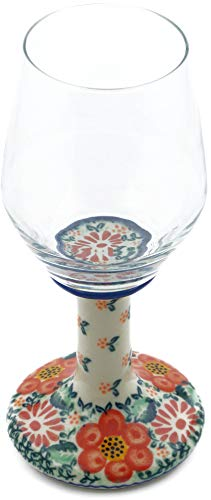 Polish Pottery 9 oz Wine Glass (Red Passion Theme) Signature UNIKAT + Certificate of Authenticity from Polmedia Polish Pottery