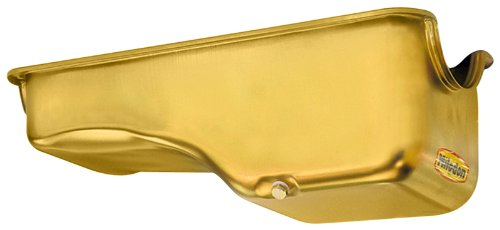 Milodon 30720 Steel, Gold Zinc Plated Stock Replacement Oil Pan for Small Block Ford KEYU1