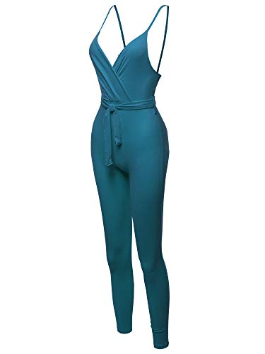 Awesome21 Solid Wrapped V-Neckline Waistband Skinny Leg Jumpsuit Teal M ()