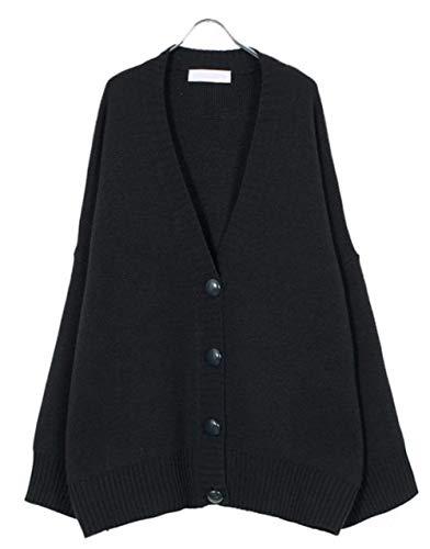 Maruya レディース カーディガン ニットコート シンプル ブラウス Vネック ファッション 無地 ゆったり BF風 学生 カジュアル 防寒 おしゃれ 秋 冬