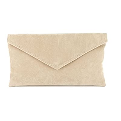 Loni Neat Envelope Faux Suede Clutch Bag/Shoulder Bag In Nude Beige - clutches