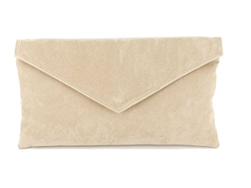 Loni Womens Neat Envelope Faux Suede Clutch Bag/Shoulder Bag In Nude Beige by LONI