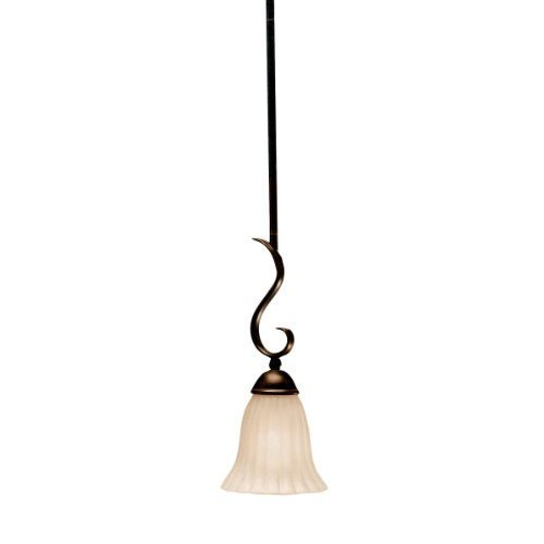 - 3427TZ Willowmore 1LT Mini-Pendant, Tannery Bronze Finish with Distressed Umber Etched Glass by Kichler Lighting
