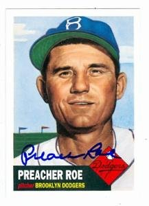 Preacher Roe autographed Baseball Card (Brooklyn Dodgers 67) 1995 Topps Archives #53 1995 Best Autographed Card