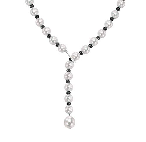 (Sterling Silver Freshwater Cultured Pearl and 4-4.5mm Simulated Onyx Adjustable Necklace,)