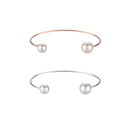 Starain 2Pcs Simple Rose Gold Silver Bangle for Women Girls Cute Faux Pearl Open Cuff Bracelet (6.5 inches) ()
