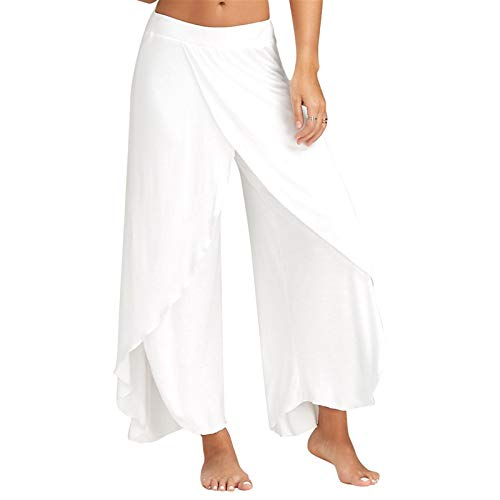 Thenxin Womens Loose Wide Leg Yoga Pants Solid Color Split Culottes Palazzo Capri Overlay Trouser(White ,M )
