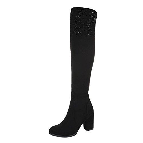Ital-Design Overknee Stiefel Damenschuhe Klassischer Stiefel Pump High Heels Reißverschluss Stiefel Schwarz