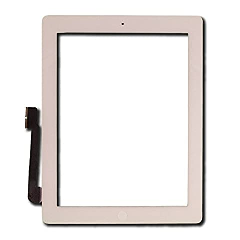 Touch Screen Digitizer for Apple iPad 3 - A+ - White - Includes Small Parts by Group Vertical (Ipad 3 Home Button Cable)