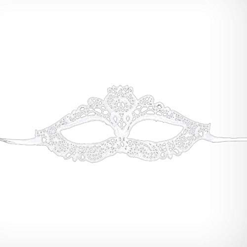 Respctful Women Lace Eye Mask for Halloween Masquerade Party Prom Ball (White) -