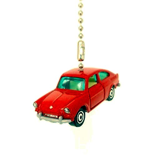 VOLKSWAGEN VW Cars Diecast Ceiling Fan Light Pull Chain Ornaments 1:64 (1963 Volkswagen Type 3 Fastback Red)