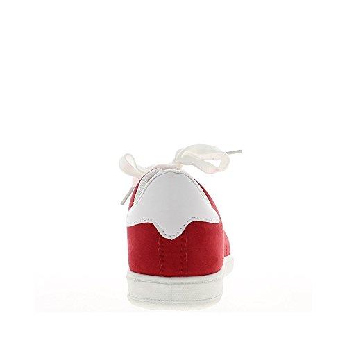 Baskets plates femmes rouges et semelle blanche