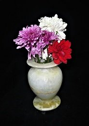 Alabaster Handmade Flower & Candle Holder Pharaoh Design Marble A Decorative Vases A Size Of 4 X 4 X 6 Inch Tealight for Home Decor ,Massage,Romantic atmosphere and relaxation With Gift Scented Candle
