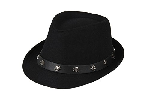 Dantiya Mens Roll Brim Wool Felt Jazz Hat Cap with Skull Belt (Black) (Black Cowboy Hat With Skull)