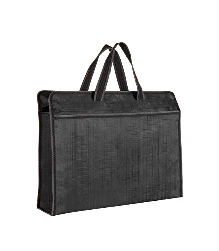 Zippered Document Bag Business Briefcase Waterproof Lightweight Handbag Ideal for Files Laptop Notebooks Stationary Meeting Business Trip Office and School (Black)