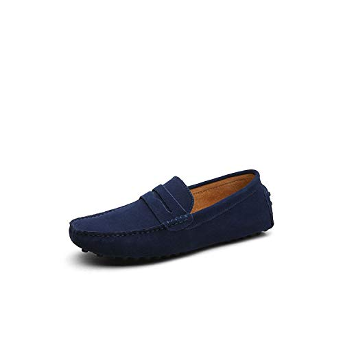 Summer Soft Men Loafers Genuine Leather Shoes Men Flats Driving Shoes,01 Dark Blue,7