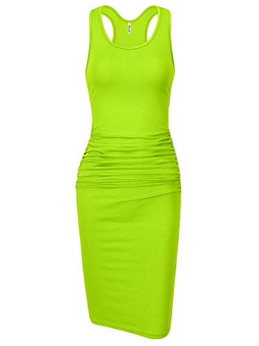 Missufe Women's Sleeveless Racerback Tank Ruched Bodycon Sundress Midi Fitted Casual Dress (Lime, Medium) ()