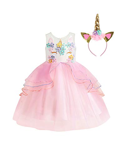 VOGUEON Kids Unicorn Costume Dress Girl Princess Flower Pageant Party Tutu (6-7 Years, -