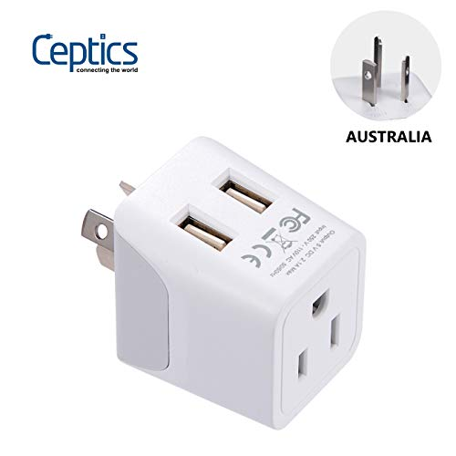 Australia, New Zealand, China Travel Adapter Plug by Ceptics, Dual USB Input - Ultra Compact - USA to Type I - Perfect for Cell Phones, Chargers, Cameras, Tablets, and more (CTU-16) - New Usa Electronics