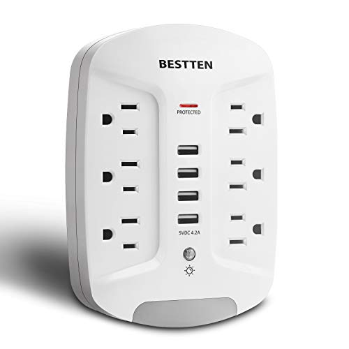 BESTTEN 1080 Joule Wall Surge Protector, 6-Outlet Extender with 4 USB Charging Ports (4.2A/5V) and Dusk to Dawn LED Night Light, ETL Certified, White