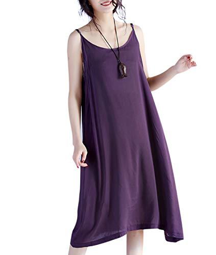 YESNO JEL Women Casual Loose Slip T-Shirt Dresses Beach Cover up Plain Dress A Skirt Hemline (S, JEL Purple)