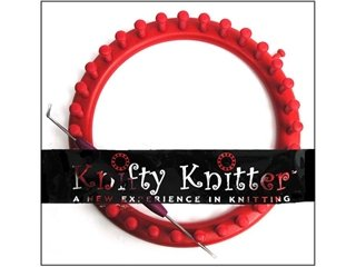 Provo Craft Knifty Knitter Medium Round Loom With Hook & Pick Tool-Red 6-3/4
