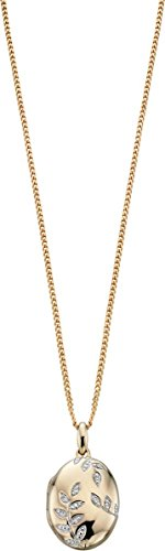 Elements Gold Womens Exquisite 9ct Gold Pave Diamond Oval Leaf Locket - Clear/Gold