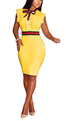 - LKOUS Women's Summer Elegant Bow Tie Sleeveless Ruffle Bodycon Midi Dress Plus Size Clubwear Yellow
