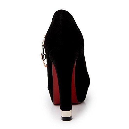AllhqFashion Mujeres Puntera Redonda Cerrada Sólido Tacón ancho De salón con Diamante Negro