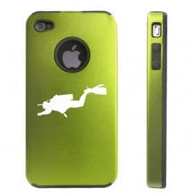 Apple iPhone 4 4S 4 Green D2771 Aluminum & Silicone Case Cover Scuba Diver