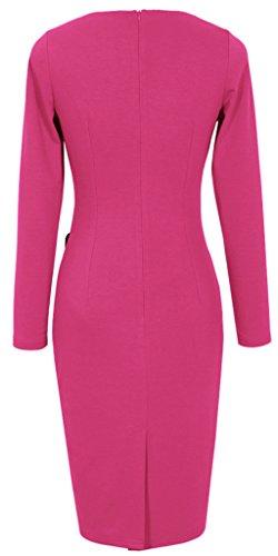 Colorblock vestito dalla matita B63 al Voguish Rosa HOMEYEE Donna UKB231 indossare lavoro YEwxTqF