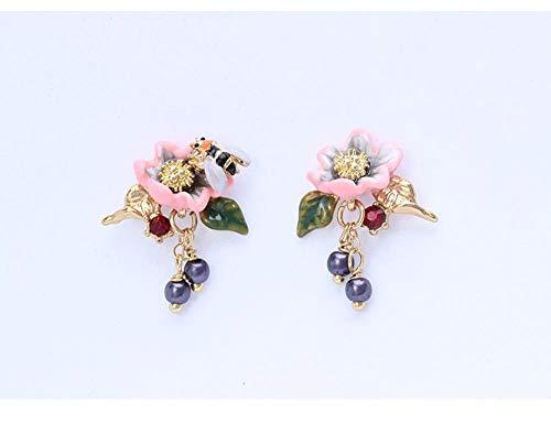 MYYQ. Earring Rose Stud Long Fringe Earrings Ear Clip ()