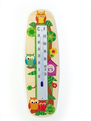 Thermometer Eulen Maße ca. 26 x 8 cm NEU Kinderzimmerthermometer Holzthermometer Hess-Spielzeug
