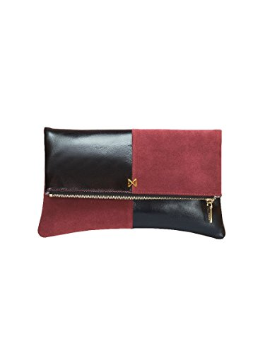 esoteric-leather-and-suede-dual-textured-colorblock-foldover-style-clutch