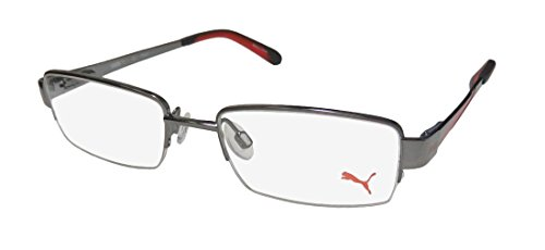 Puma 15406 Mens/Womens Designer Half-rim Spring Hinges Eyeglasses/Spectacles (48-17-135, Gunmetal / - Spectacles Rim Half