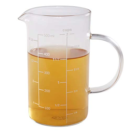 Glass Measuring Cup, [Insulated handle, V-Shaped Spout], 77L High Borosilicate Glass Measuring Cup for Kitchen or Restaurant, Easy To Read, 500 ML (0.5 Liter, 2 Cup) ()