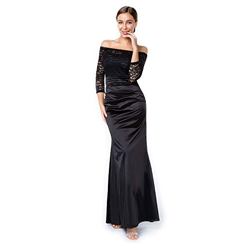 Satin Womens Earring - Sirhao Maxi Evening Prom Dress Vintage Black Long Sleeve Dress for Women Floral Lace Wedding Party with Earrings