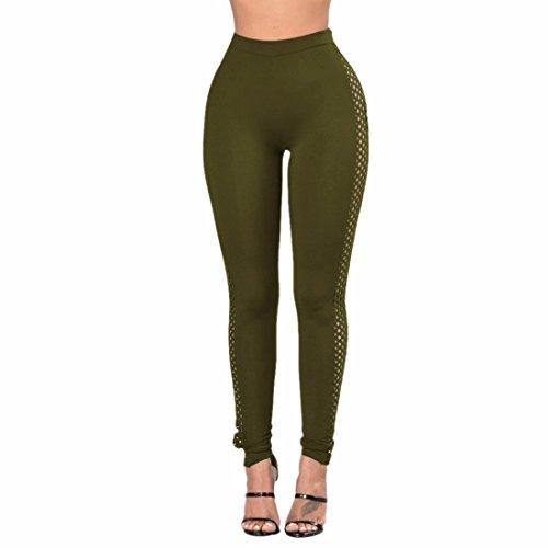 QIYUN.Z Pantalones Flacos De La Cintura Del Lado Del Color Sólido Manera De Las Mujeres Pantalones Altos Cintura Verde