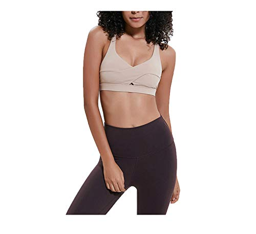 Cross Straps Bras Women Sexy Push Up Fitness Crop Tops Workout with Removable Pads,Khaki,XS