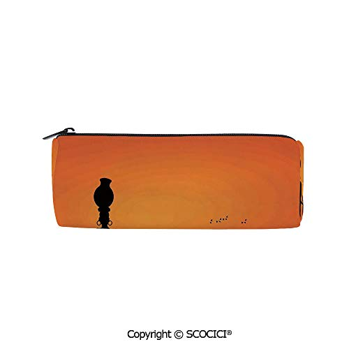 SCOCICI Cylinder Printed Pen Case Holder Pencil Bag Pouch Child and Mother at Sunset Walking in Savannah Desert Dawn Kenya Nature Image for Students Girls Office Work Study,8x3x3 inch