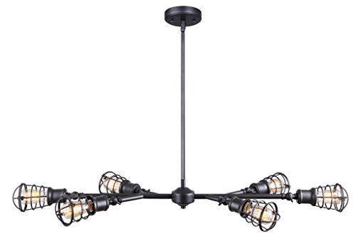 CANARM LTD ICH611A06GPH Otto 6 Light Chandelier Graphite with Metal Cage Shades - Industrial/vintage styling in a Graphite finish Metal cage style shades - adjustable heads Uses 6 - 60W a/st45-17 bulbs (not included) - kitchen-dining-room-decor, kitchen-dining-room, chandeliers-lighting - 31SlYfp9svL -