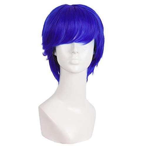 MapofBeauty 10 Inch/25cm Fashion Men Short Curly Hair Cosplay Wig (Navy Blue)