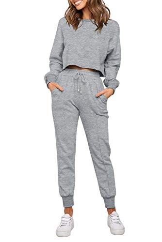 ZESICA Women's Long Sleeve Crop Top and Pants Pajama Sets 2 Piece Jogger Long Sleepwear Loungewear Pjs Sets Grey