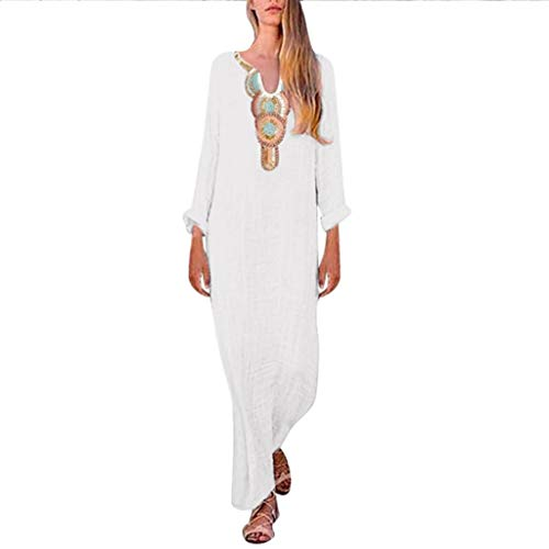 Price comparison product image Ximandi Women's Boho Linen Sleeveless V-Neck Maxi Dress Casual Split Hem Baggy Kaftan Long Dress