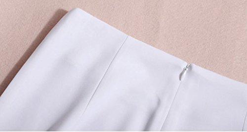 Lixmee Mujer Cintura Alta Color Sólido Loose Amplia Pierna Pantalones _07 White